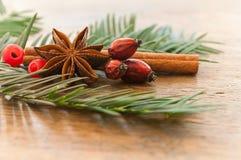Merry christmas card decorative  - anise cinnamon and dog rose Stock Photo