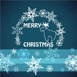 Merry christmas card with deer. Stock Photos