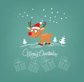 Merry christmas card with deer and gift Royalty Free Stock Images