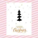 Merry Christmas card design with calligraphy and simple hand drawn Christmas tree. Vector template design Royalty Free Stock Photo