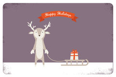 Merry christmas card design. cute deer holding a Royalty Free Stock Photos