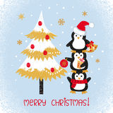 Merry Christmas card design with cute doodle penguins and fir tree. Vector illustration Stock Image