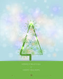 Merry Christmas card design-Greeting card with pine tree. Stock Images