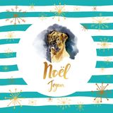 Merry Christmas card design with greetings in french language. Joyeux noel phrase on striped background with snowflakes. And boxer dog Stock Photos