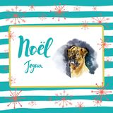 Merry Christmas card design with greetings in french language. Joyeux noel phrase on striped background with snowflakes. And dog Stock Image