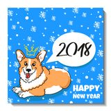 Merry Christmas card design. Holiday postcard with puppy Welsh Corgi Pembroke, text, snow and funny figures. Happy new year funny illustration Royalty Free Stock Images