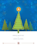 Merry Christmas card design-pine tree paper torn with space for text Royalty Free Stock Photos