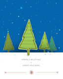 Merry Christmas card design-pine tree paper torn with space for text. Christmas Greeting Card.Blue decorative snowflake background.vector illustration Stock Photography