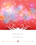 Merry Christmas card design-Red greeting card with abstract bow. Stock Photography