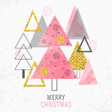 Merry Christmas card design in retro style. Royalty Free Stock Photo