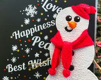 Merry Christmas card design with snowman Stock Photo