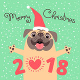 Merry Christmas 2018 card with dog. Funny pug congratulates on the holiday.  Royalty Free Stock Photo