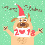 Merry Christmas 2018 card with dog. Funny puppy congratulates on holiday.  Royalty Free Stock Photo