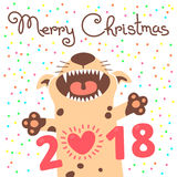 Merry Christmas 2018 card with dog. Funny puppy congratulates on holiday.  Stock Image