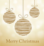 Merry Christmas Card with doodle balls Royalty Free Stock Images
