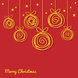 Merry Christmas Card with doodle balls Royalty Free Stock Photography