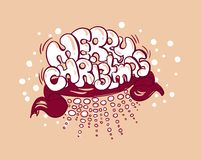 Merry christmas card doodle style bubble graffiti royalty free illustration