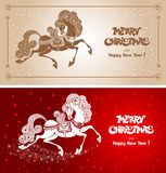 Merry Christmas card. With fairy horse (symbol of 2014 year Royalty Free Stock Photo