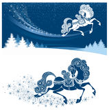 Merry Christmas card. With fairy horse (symbol of 2014 year Stock Image