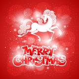 Merry Christmas card. With fairy horse (symbol of 2014 year Royalty Free Stock Images