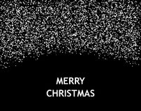 Merry Christmas card with falling snow on black background. Royalty Free Stock Photography