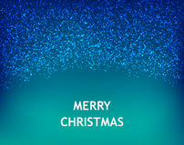 Merry Christmas card with falling snow on blue background Stock Image