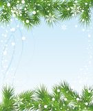 Merry Christmas card with fir tree. Snowflake christmas holiday winter season Royalty Free Stock Photography