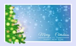 Merry Christmas card with fir tree Royalty Free Stock Image