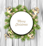 Merry Christmas Card with Fir Twigs, Balls. Illustration Merry Christmas Card with Fir Twigs, Balls and Serpentine, Wooden Background - Vector Royalty Free Stock Image