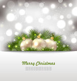 Merry Christmas Card with Fir Twigs and Golden Royalty Free Stock Photography
