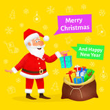 Merry Christmas card. Flat funny old man character holding Xmas gift on Christmas background. Holiday banner or poster Stock Photo