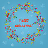 Merry Christmas card with floral wreath and snow Royalty Free Stock Photography