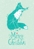 Merry Christmas card with a fox Stock Images