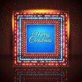 Merry Christmas card with frame made of lights. Stock Photography