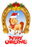Merry Christmas card. With funny horse (symbol of 2014 year Stock Images
