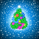 Merry christmas card, funny tree multicolored flowers Stock Photos
