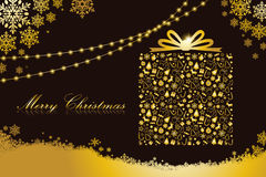 Merry christmas card, gift box shape. Black and gold color Stock Images