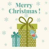 Merry Christmas card with gift boxes Royalty Free Stock Photography