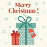 Merry Christmas card with gift boxes Stock Image
