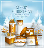 Merry Christmas card with gift boxes. Snowy landscape. Merry Christmas card with pile of white and golden wrapped gift boxes, fir branches and yellow berries Stock Photo