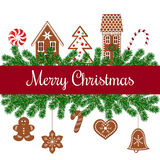 Merry christmas card with gingerbread figures Stock Photo