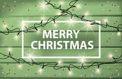 Merry Christmas card with glowing lights and confetti. On a background of wooden boards. Vector illustration Stock Photo