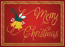 Merry Christmas. Card with gold foil texture and script font Royalty Free Stock Photos