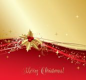 Merry Christmas  card with  gold holly Royalty Free Stock Photos