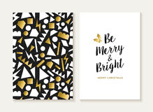 Merry christmas card gold retro 80s pattern. Merry Christmas card template set with retro 80s style seamless pattern and trendy Xmas text in gold metallic color Royalty Free Stock Photo