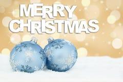 Merry Christmas card golden balls background decoration deco Stock Photos