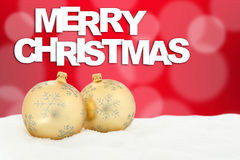 Merry Christmas card golden balls decoration Stock Photography
