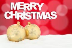 Merry Christmas card golden balls decoration Stock Photography