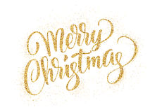 Merry christmas card with golden glitter lettering Stock Photos