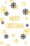 Merry Christmas card with golden snowflakes. Abstract winter  background. Easy  modern template. Merry Christmas card with golden snowflakes. Abstract winter Royalty Free Stock Images